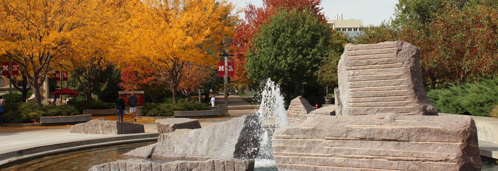 Broyhill Fountain in the Fall